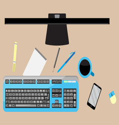 Work space top view vector