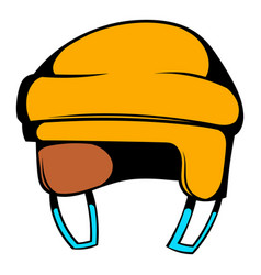 yellow hockey helmet icon icon cartoon vector image