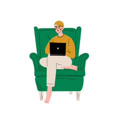 young man sitting in armchair using laptop vector image