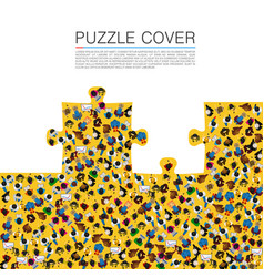 A group of people in a shape of puzzles vector