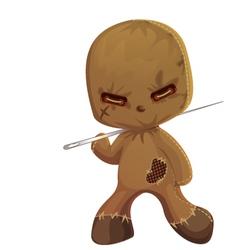 Cute scary rag doll monster vector