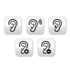 Ear hearing aid deaf problem buttons set vector