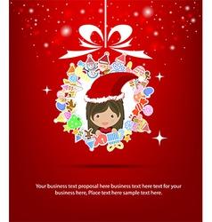 girl santa christmas tree icon for christmas card vector image