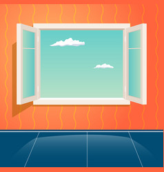 home open glass window frame cartoon interior vector image