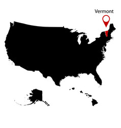 Map of the us state of vermont vector