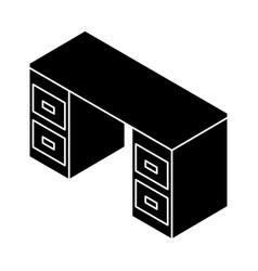 Office desk isometric icon vector