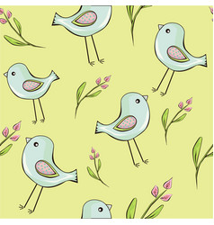 seamless background of cute birds with flowers vector image