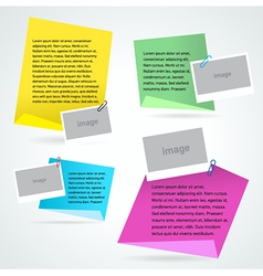 set stiker note text and photo template vector image