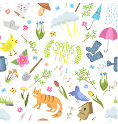 Spring time natural floral symbols icons beauty vector