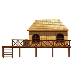 Wooden hut with ladder vector