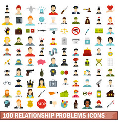100 relationship problems icons set flat style vector image vector image