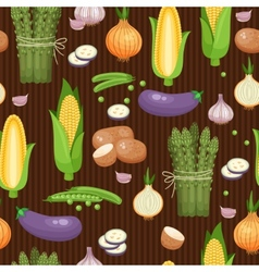 Asparagus corn and peas seamless background vector