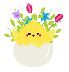 cute cartoon chicken in easter egg with fowers vector image vector image