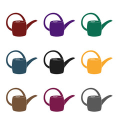 green plastic watering can for watering flowers in vector image vector image