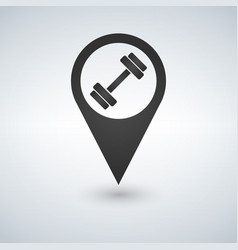gym map pointer icon simple of dumbbell map vector image