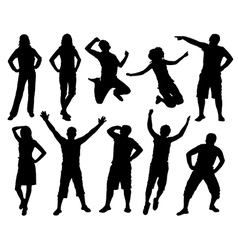 Happy active people silhouettes vector image