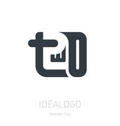 Number 2 logo sign number two Logotype or design vector image vector image