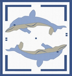 two dolphins in the square vector image vector image