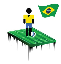 world cup in brasil with football player color vector image