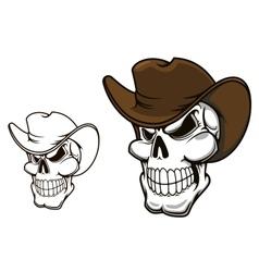 Cowboy skull in hat vector image vector image