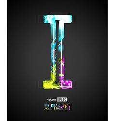 Design light effect alphabet letter i vector
