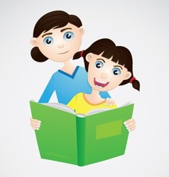 Girl and Mom Reading The Book vector image vector image