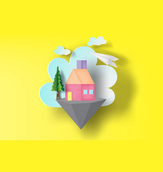 paper art of home sweet on floating islands vector image