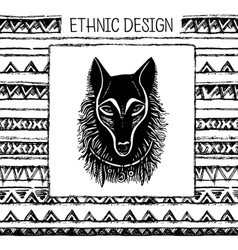 Pattern with wolf face Black and white colors vector image