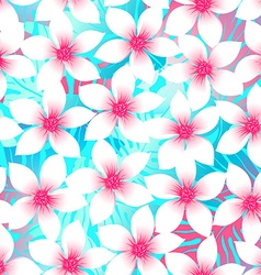 Pink and aqua Plumeria and Hibiscus floral vector image