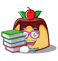 student with book pudding character cartoon style vector image vector image