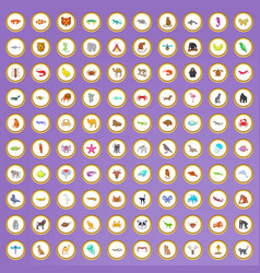 100 animal icons set in cartoon style vector image