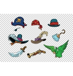 pirate set of knives and hats vector image