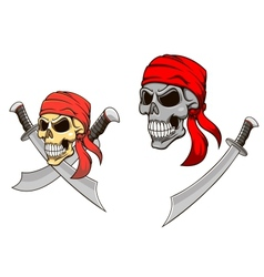 Pirate skull with sharp sabers vector image vector image