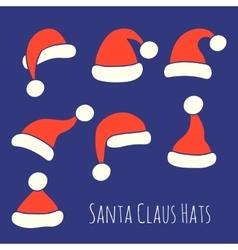 Santa Claus Hats Set vector image vector image