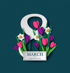 8 march greeting card for womens day vector image