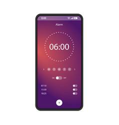 alarm clock app smartphone interface template vector image