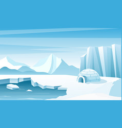 arctic landscape with ice igloo flat vector image