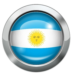 Argentina flag metal button vector image