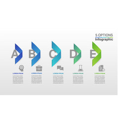 arrow infographic design template with 5 steps vector image