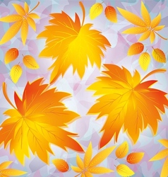 Autumn grunge background with yellow leaves vector image