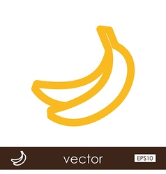 Banana outline icon Tropical fruit vector