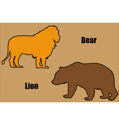 Bear and lion vector