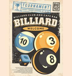 billiard tournament poster design vector image
