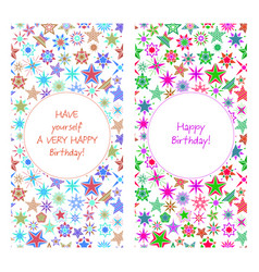 Birthday card with colorful cartoon stars vector