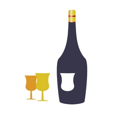 Bottle wine and two glasses vector