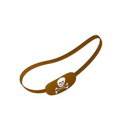 Brown eye patch with skull symbol vector