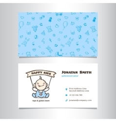 Business card template with cute baby shop vector