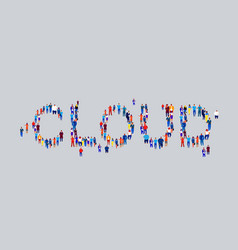 businesspeople crowd gathering in shape cloud vector image