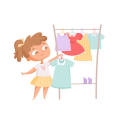 buying clothes girl and dress clothes rack vector image
