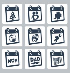 Calendar icons representing holidays christmasnew vector